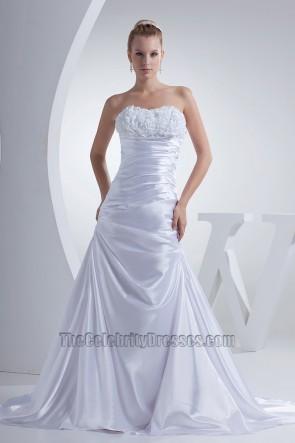 Strapless A-Line Chapel Train Silk Like Satin Wedding Dress