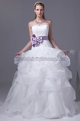 Strapless A-Line Lace Organza Chapel Train Wedding Dress