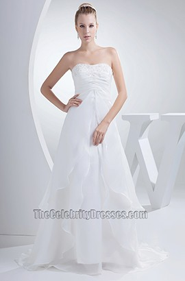 Strapless A-Line Organza Chapel Train Wedding Dress