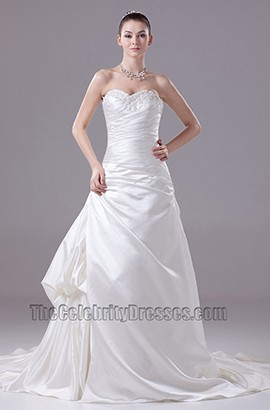 Strapless A-Line Sweetheart Embroidery Wedding Dresses