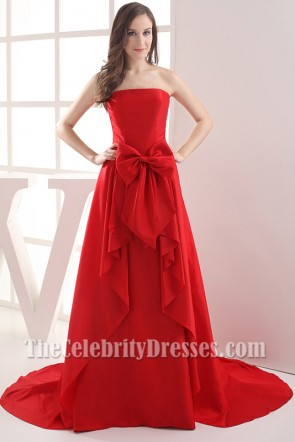 Long Strapless Red Taffeta Bridesmaid Prom Dresses