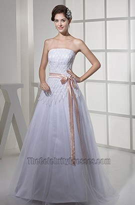 Strapless A-Line White Sequins Full Length Wedding Dress