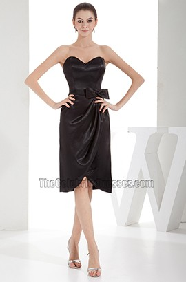 Strapless Black Knee Length Cocktail Party Bridesmaid Dresses
