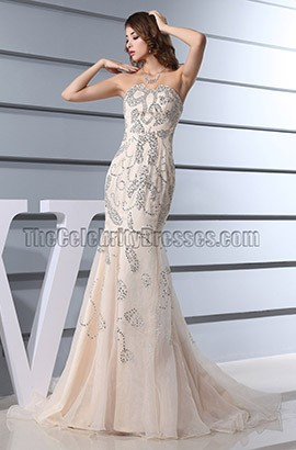 Sequined Mermaid Champagne Formal Dresses Prom Gown