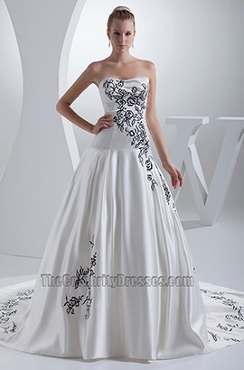 Strapless Sweetheart A-Line Black Embroidery Wedding Dress