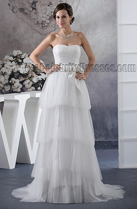 Strapless Sweetheart A-Line Tulle Sweep Brush Train Wedding Dress
