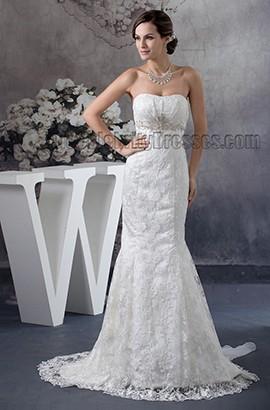 Trumpet /Mermaid Strapless Lace Beaded Wedding Dresses