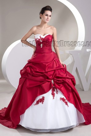 Strapless Sweetheart A-Line White And Burgundy Wedding Dress