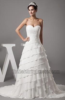 Strapless Sweetheart Chiffon A-Line Chapel Train Wedding Dress
