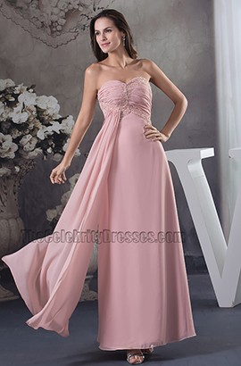 Discount Strapless Sweetheart Chiffon Bridesmaid Prom Dresses
