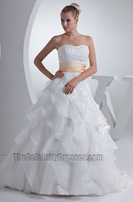 Strapless Sweetheart Lace Organza A-Line Wedding Dress