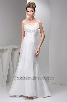 Elegant Strapless Trumpet Mermaid Embroidery Wedding Dresses