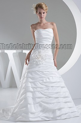 Sweetheart Strapless A-Line Chapel Train Wedding Dress