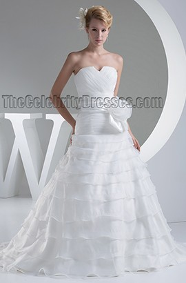 Sweetheart Strapless A-Line Lace Up Chapel Train Wedding Dress