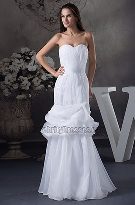 Sweetheart Strapless Organza Mermaid Floor Length Wedding Dress
