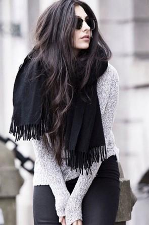 Chic Plaid Scarf Autumn And Winter Big Black Cashmere Shawl TCDS004