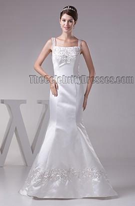 Trumpet/Mermaid Embroidered Backless Sweep Brush Train Wedding Dress
