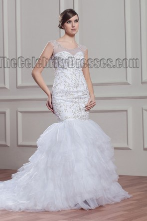 Trumpet/Mermaid Embroidered Sweep/Brush Train Wedding Dress