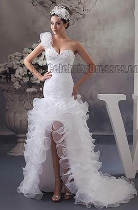 Trumpet /Mermaid One Shoulder Beaded High Low Wedding Dresses