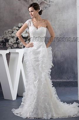 Trumpet/Mermaid One Shoulder Lace Sweep/Brush Train Wedding Dress