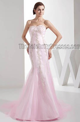 Trumpet/Mermaid Pink Strapless Sweetheart Embroidered Wedding Dress