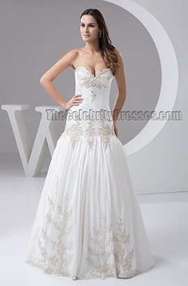 Trumpet/Mermaid Strapless Sweetheart Floor Length Embroidered Wedding Dress
