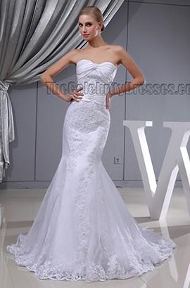 Trumpet/ Mermaid Strapless Sweetheart Lace Wedding Dress