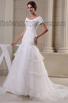 Trumpet /Mermaid V-Neck Chapel Train Wedding Dresses