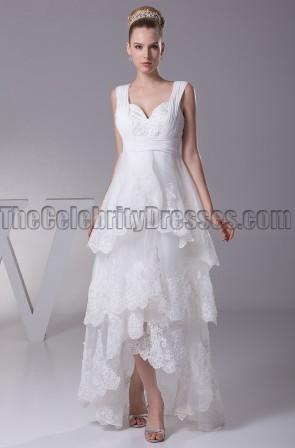 Floor Length V-Neck A-Line High Low Wedding Dresses