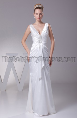 Sheath / Column V-Neck Floor Length Wedding Dresses