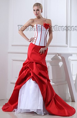 White And Red Strapless Taffeta Evening Dress Prom Gown