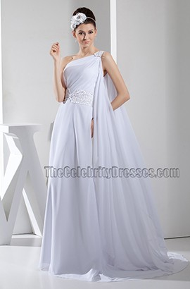 White Chiffon Beaded One Shoulder Formal Dress Prom Gown