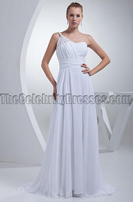 White Chiffon One Shoulder Prom Gown Evening Formal Dresses
