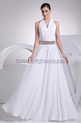 White Halter A-Line Floor Length Evening Gown Wedding Dress