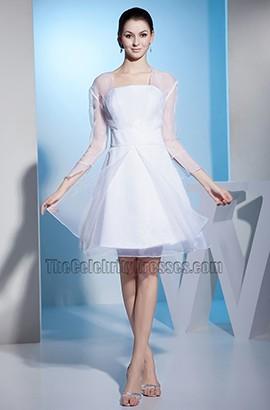 White Long Sleeve Organza Short Wedding Dress Cocktail Dresses
