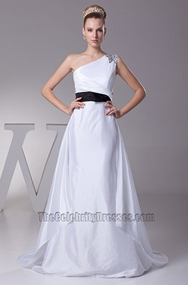 White One Shoulder A-Line Wedding Dress With Black Belt