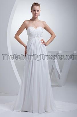 White Strapless A-Line Chiffon Prom Evening Dresses