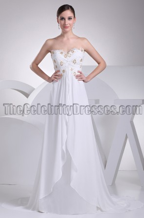 White Strapless Prom Gown Wedding Dress With Beading
