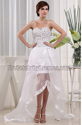 White Beaded Strapless Prom Gown Evening Party Dresses