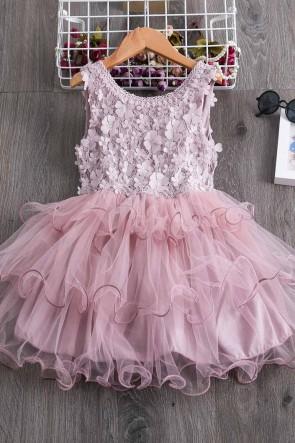 Ball-Gown Patchwork Flower Girl Dress