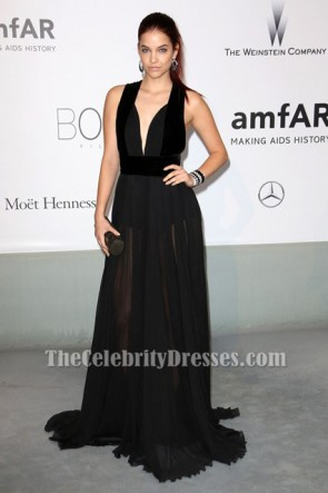 Barbara Palvin black Prom Night Gown Le 21ème Gala Cinema Against AIDS de l'amfAR