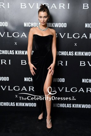 Bella Hadid Black Velvet Strapless Thigh-high Slit Evening Dress Milan Fashion Week