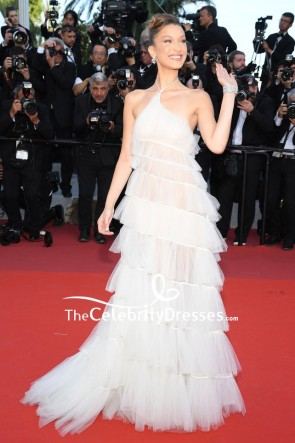 Bella Hadid White Halter See Through Ruffled Formal Dress 2019 Cannes Film Festival