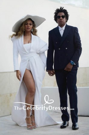 Beyoncé White Long Sleeves High Slip Formal Evening Dress 2019 NAACP Awards
