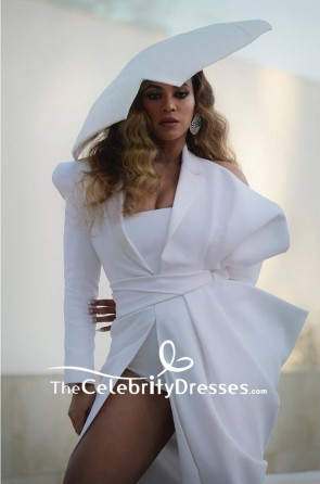 Beyonce White Long Sleeves High Slip Formal Evening Dress 2019 NAACP Awards TCD8378
