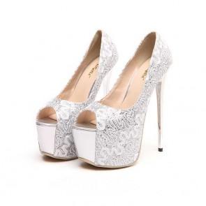 Chaussures de mariage noires à talons aiguilles plate-forme peep toe avec poisson souris