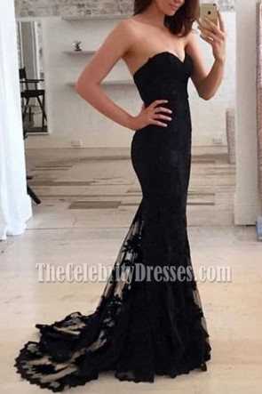 Black Strapless Sweetheart Mermaid Lace Formal Dress Evening Gown TCDFD7361