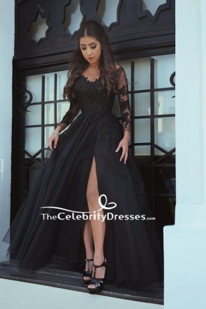 Black Thigh-high Slit Applique Prom Dress With Long Sleeves