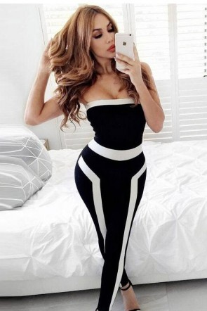 Black And White Strapless Sexy Tight-fitting Jumpsuit
