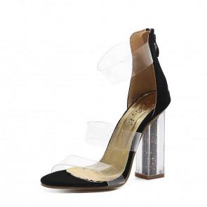 Nude transparent bout ouvert talons hauts épais sandales bon marché pour les femmes